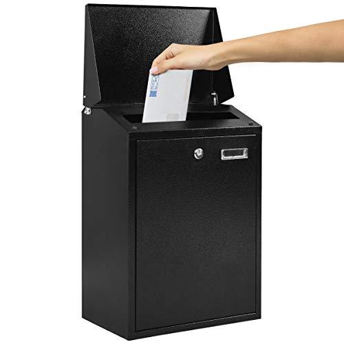 COSTWAY Briefkasten mit Namensschild und 2 Schlüssel, Wandbriefkasten Wetterfest, Postkasten Mailbox Letterbox (Schwarz)