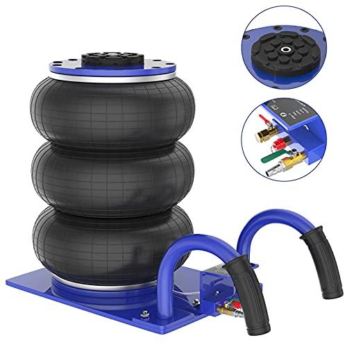 IMAYCC Gato Neumático 3 Toneladas Profesional, Gato Neumático de Aire Rango de Altura de elevación 150-400 mm, Gato para Coche con diseño de Triple Bolsa,elevación rápida para automóviles (Azul)