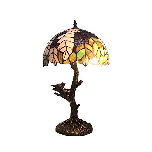 12 Zoll Tiffany Stil Lampen Pastoralen Blätter Glasmalerei Tischlampe Handgefertigten Wunderschöne Blumen Buntglas Lampenschirm Tischleuchte Antik Harz Basis für Schlafzimmer Wohnzimmer Couchtisch
