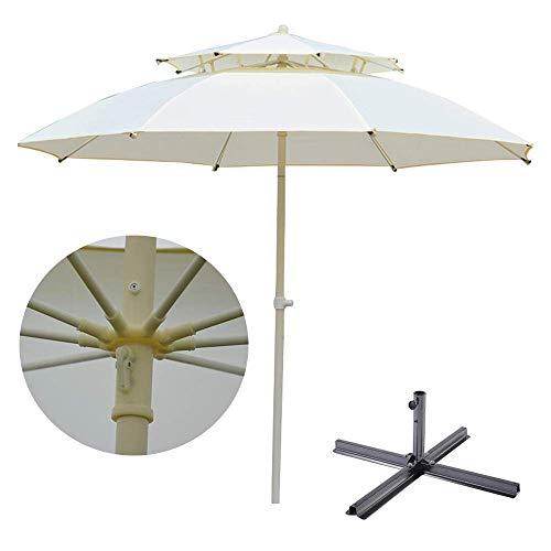 SCJ 9 Ft Double Top Patio Umbrella Outdoor Table Umbrella Waterproof/Rainproof With Crank Lift Ventilation,8 Ribs