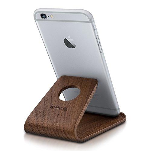 kalibri Supporto Smartphone Universale da Tavolo - Stand Cellulare Tablet Compatibile con iPad e iPhoone - Sostegno Dock scrivania - Legno Noce