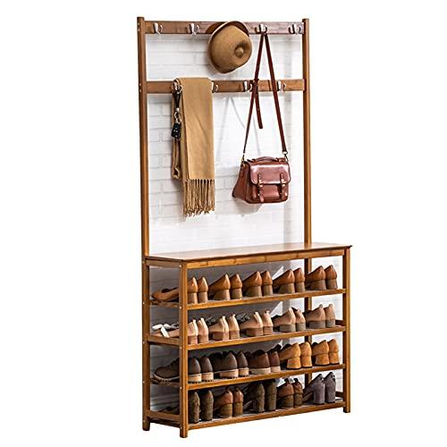 LM-Coat rack XINGLL Percheros Pie Perchero, Portátil Zapatero Ropa Sombrero Organizador Almacenamiento Bolsos, Ideal para Pasillo Dormitorio Entrada Oficina, Bambú Muebles Multifuncionales