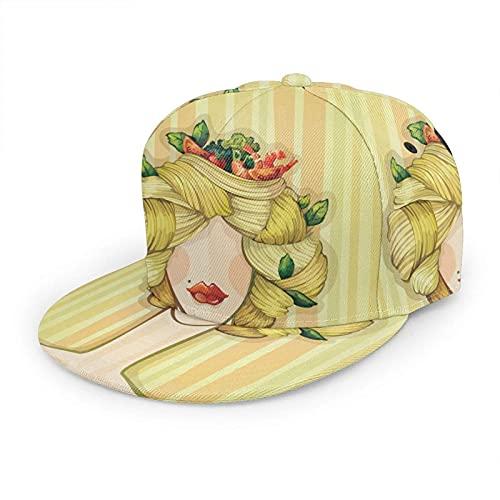 QQIAEJIA Pasta Hair Sombrero Gorra de béisbol Bolonia Rostro Mujer Italia Lasaña Retrato Mujer Amarillo Ajustable Sombreros Planos Snapback Sombrero de Bola Sombrero Deportivo para Hombres y Mujeres