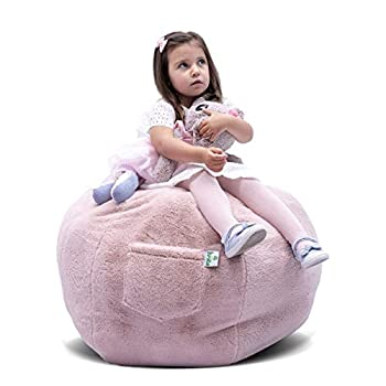 KROCO Stuffed Animal Storage Bean Bag Chair Cover for Kids - Bean Bags Chairs Plush Toys - Stuff Animals Beanbag Toy Storage -Cool Decor Toddler Room for Girls Princess - Baby Pink 38   Plush