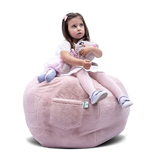 KROCO Stuffed Animal Storage Bean Bag Chair Cover for Kids - Bean Bags Chairs Plush Toys - Stuff Animals Beanbag Toy Storage -Cool Decor Toddler Room for Girls Princess - Baby Pink 38'' Plush
