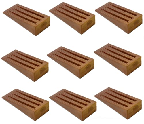 Topes para puertas plástico cuña para puerta 9-Pack tope para puerta tope para puertas función bien en baldosas, alfombras, pisos de madera y laminado diseño antideslizante, elegante apilable (Marrón)