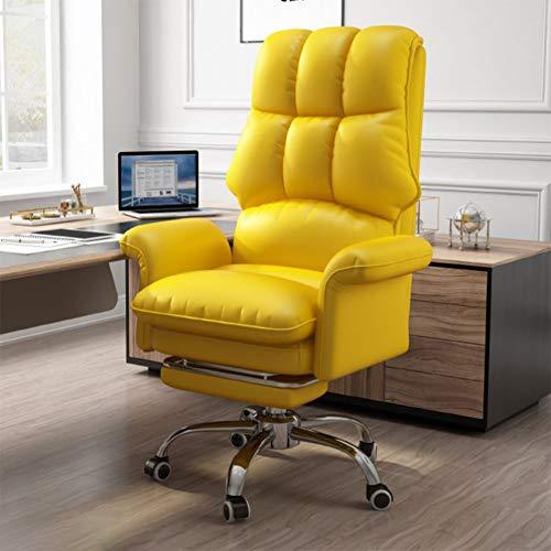 Gaming Stuhl BüRostuhl Schreibtischstuhl Mit Wippfunktion Gamer Stuhl HöHenverstellbarer Drehstuhl Pc Stuhl Ergonomischer Chefsessel Mit Klappbarer FußStüTze Schwarz,Gelb