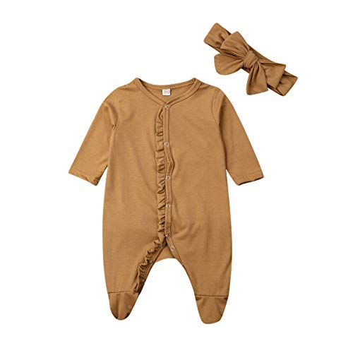 Newborn Baby Girl Footed Pajamas Ruffle Onesie Footie Sleeper Fall Winter Solid Outfit Clothes (Brown Footies,0-3 Months)