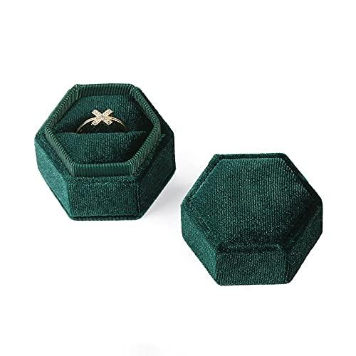 kangzhiyuan Caja de anillo de diamante hexagonal de terciopelo caja de joyería con soporte para anillo de compromiso de boda, caja de anillo de diamante (color: verde, tamaño: S)