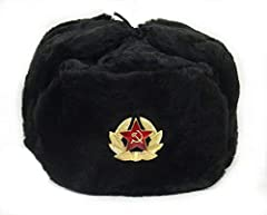 "Russian winter hat - ""Ushanka"". Military style with Soviet badge Faux fur, Badge removable New, never worn. Direct from the factory, made in Russia Size 57 (S), US size 7 1/8 (22 1/2)"