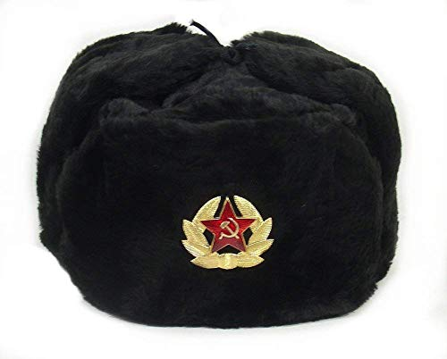 Russian Soviet Army Fur Military Cossack Ushanka Hat (Black, 57(M))