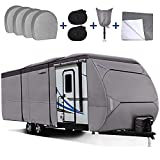 RVMasking Upgraded Waterproof 500D Top Travel Trailer Cover for 31'7' - 34' RV Camper Motorhome with 4 Tire Covers, Tongue Jack Cover