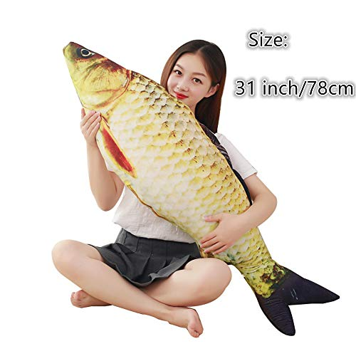 BRXY 3D Giant Soft Fish Cushion Pillow Carp Plush Pillow Stuffed Toy Throw Pillow for Home Decoration Gift Kids Pillow Stuffed Animal Toy (31inch/ 78cm)