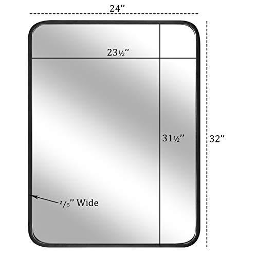 "LEORISO 24 x 32"" Black Bathroom Mirror for Wall, 1.3"" Metal Frame -"