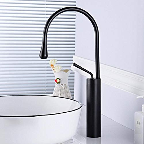 Treimboover Grifo de baño Grifo de Lavabo Cuenca Grifos Cepillado Color Oro baño de Mezclador del Grifo de latón Grifo del Lavabo Sola manija de la grúa for Baño-2 Negro (Color : Black 2)