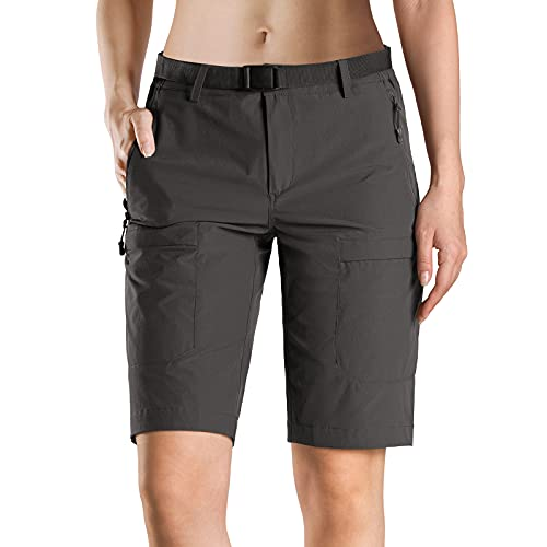 FREE SOLDIER Women's Hiking Cargo Shorts UPF 50+ Outdoor Quick Dry Nylon Shorts with Belt (Gray 12W/9L)