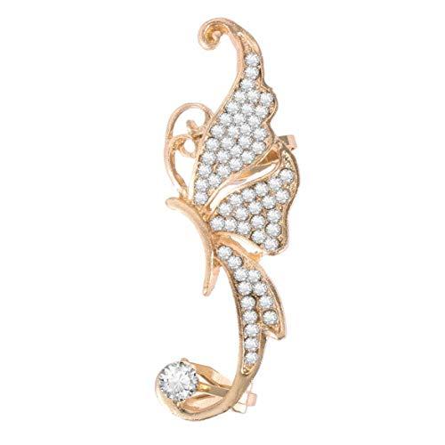Logicstring Pendientes con Forma De Elfo De Mariposa con Diamantes De Imitación para Mujer, Clip Metálico para La Oreja, Exquisito Diseño Romántico Y Elegante (Blanco)