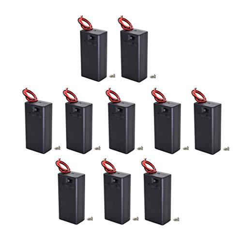 VILLCASE (Pack of 10) 9v Battery Holder, 9 Volt Battery Holder with Switch, 9v Battery Case with Switch with Screw