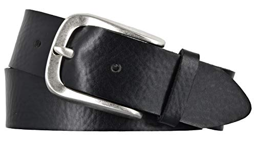 Vanzetti Damen Leder Gürtel Rindleder weich Damengürtel schwarz 35 mm Ledergürtel (105 cm)