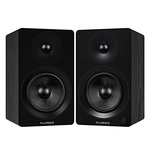 """Fluance Ai60 High Performance Powered Two-Way 6.5"""" 2.0 Bookshelf Speakers with 100W Class D Amplifier for Turntable, PC, HDTV & Bluetooth aptX Wireless Music Streaming (Black Ash)"""