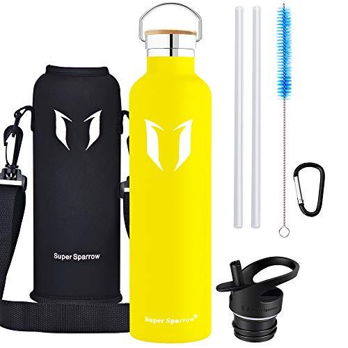 Super Sparrow Trinkflasche - 1000ml - Wasserflasche Doppelwandig Vakuum Isoliert Edelstahl - Auslaufsicher Sport Trinkflaschen | Ideale Flasche - BPA-freie - 2 Deckel + Tragetasche (Zitrone)