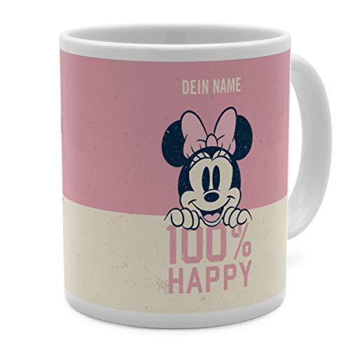 PhotoFancy Tasse Disney mit Namen personalisiert (Minnie Mouse 100% Happy)