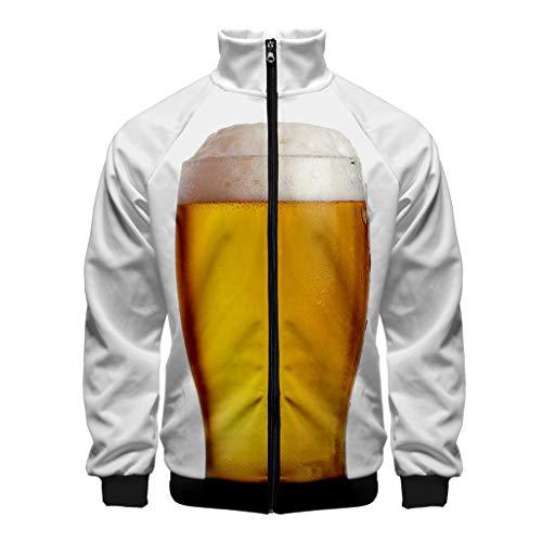 Tosonse 3D Print Hoodies Herren Beer Festival Print Stehkragen Langarm Pullover Trenchcoat Herren