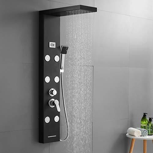 Auralum Edelstahl Duschpaneel mit Temperatur, Schwarze Duscharmatur 3 Funktionen Regendusche Duschsystem mit 2 Massagendüsen, Handbrause, LED Wassertemperaturanzeige
