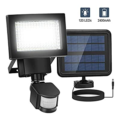 Motion Sensor Light Outdoor Solar Powered, 2020 Upgraded Security Lights Motion Outdoor 3000 LM, 120 LED Solar Flood Lights 2400 Mah, Wide Angle Illumination, Waterproof, 3 Control Dials