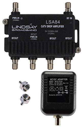 4-Port Cable TV/Antenna/HDTV/Internet Digital Signal Amplifier/Booster/Splitter with Passive Return, F59 Terminators (Lindsay LSA84)
