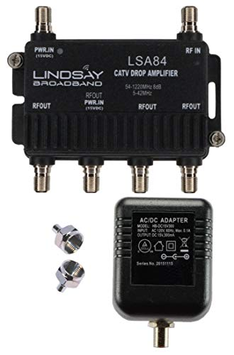 4-Port Cable TV/Antenna/HDTV/Internet Digital Signal Amplifier/Booster/Splitter with Passive Return, F59 Terminators (Lindsay LSA84)