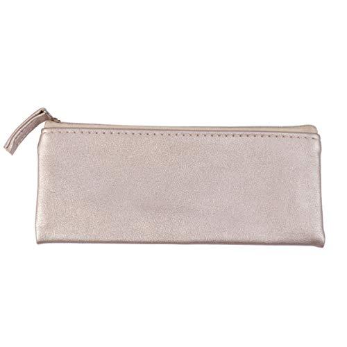 Lurrose sac de crayon en cuir pu étudiants porte-crayon papeterie sac de rangement stylo minimaliste organisateur sac de maquillage doré