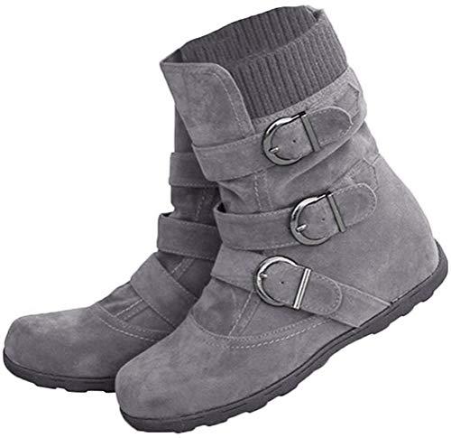 Minetom Damen Boots Flach Gefütterte Schlupf Stiefel Stiefeletten Grau 39 EU