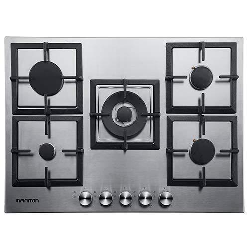 Placa DE Gas 5 Fuegos INFINITON Ancho 70 cm 77MCIXG (INOX) (Parrillas Hierro, Triple Anillo, Encendido electronico, Quemadores Desmontables)