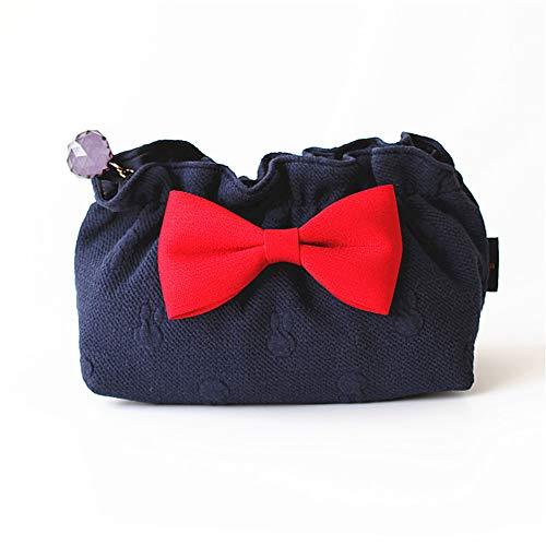 Bolsa de almacenamiento de maquillaje de viaje, bolsa cosmética portátil, organizador de maquillaje de moda bolsa de organizador para mujer Bowknot Wash Bag Holder Bag,Dark blue,16.5*8*12cm