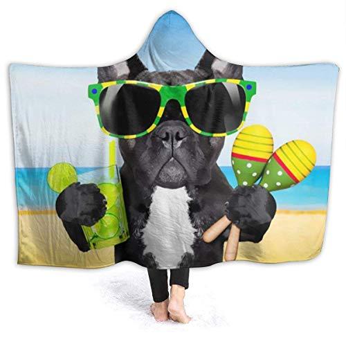 Manta cálida con Capucha Bulldog francés Perros con Capucha Abrigo con Capucha Capa Capa Fleece para Hombre Reversible Home Office Mantón de Franela con Mangas