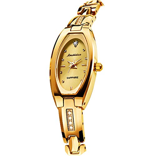 Ladies Gold Watch Elegant Square Oval Dial Slim Golden Bracelet Tungsten Steel Dress Watches, Luxury Brand Waterproof Quartz Beauty Wristwatch for Wife Mom