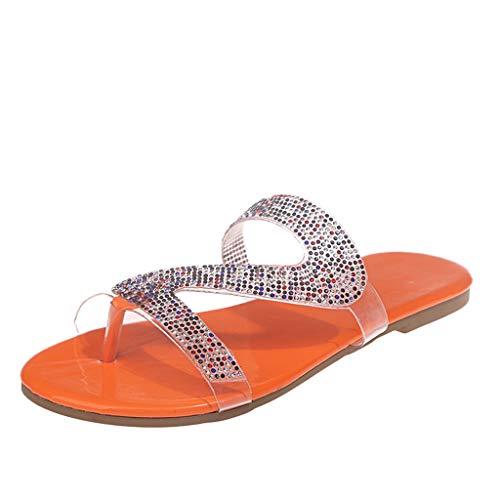 Sandales Plates Femmes Confortables Orthopedique Chaussures Plateforme Sandales Femmes Crystal Flats Pantoufles Casual Beach Indoor & Outdoor Shoes (43,Orange)