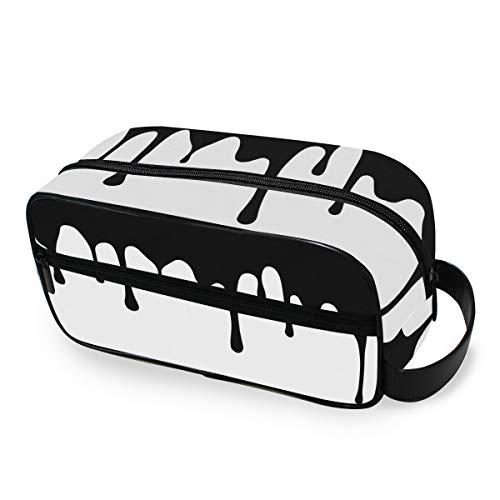 Trousse de toilette Voyage Mode Portable Outils Cosmétique Train Case Stockage Noir Blanc Art Maquillage Sac