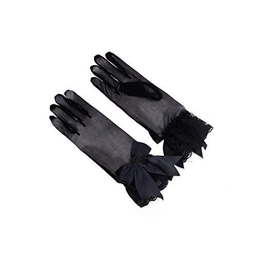XINXI-YW Wasserdicht Braut Gaze Bogen Handschuhe Kleid Finger Spitze Brautkleid Kurze Handschuhe Frauen Braut Hochzeit Handschuhe Party Phantasie Kostüme Schutz (Color : Black)
