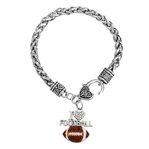 TENDYCOCO Armband Creative American Football Letters Kreatives Anhänger Armband (Braun)