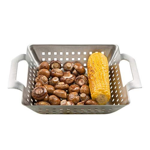 Meateor Grill-Korb aus massivem Edelstahl, geeignet für Holzkohlegrill, Gasgrill, Elektrogrill und Backofen, für kleines Grillgut oder Gemüse, Maße: 28 x 20,5 x 5,5 cm