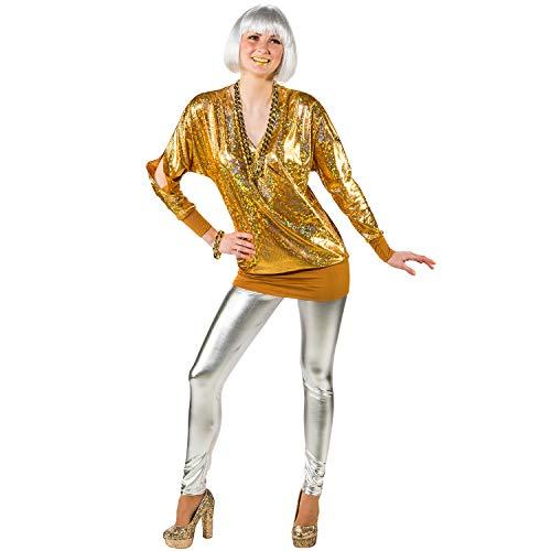 Unbekannt Damen Kostüm 90er Wickelshirt Retro 80er Mottoparty Fasching Karneval (42/44, Gold)