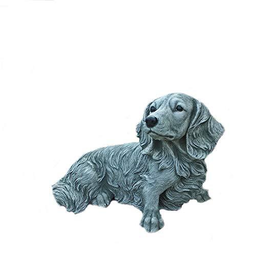 Steinfigur Dackel Hund Tierfigur Gartenfigur Steinguss Frostfrei W
