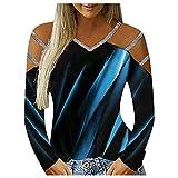 Julhold Blusa para mujer Casual haz proyección contraste impresión V-cuello manga larga camisetas mujeres, azul, M