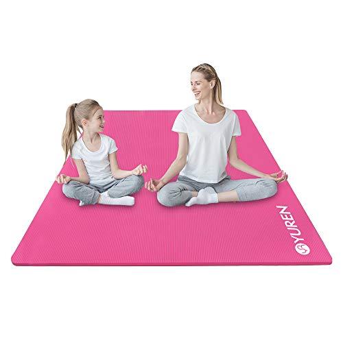 YUREN Yoga Mat Large Exercise Mat 78x51 Extra Thick 2/5 inch High Density Comfortable NBR Foam Mat Workout Fitness Mat for Home Gym Floor Pilates Stretching Pink