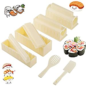 Tongbay Sushi Making Kit,10 Pcs Plastic Diy Sushi Maker Tool Set with Multiple Shapes Rice Roll Mold, Complete Kitchen Sushi Tool with 8 Sushi Roling Makers,Rice Fork,Non-sticky Spatula for Beginners