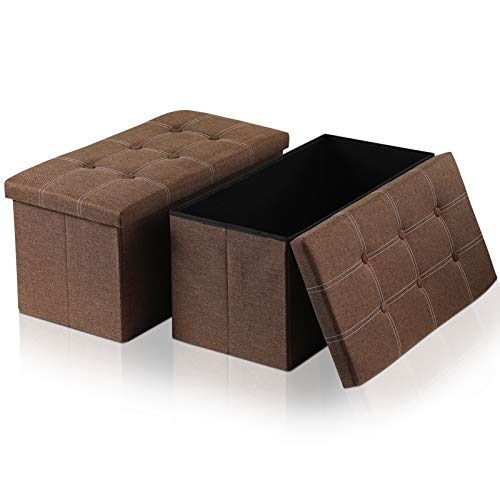Large Linen Storage Ottoman Bench(2Pack) 30quotX15quotX15quot Folding Storage Box Chest with LidsMemory Foam Seat TuftedBedroom Ottomans BenchFoot Rest Stool Brown Cotton Linen