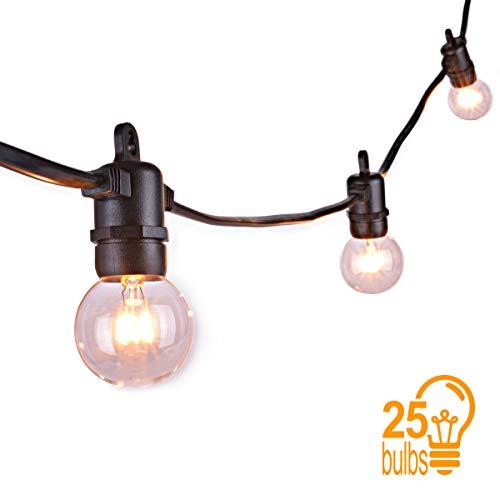 Sunix Guirlande Lumineuse Ampoules, Raccordable avec 25 G40 ampoule Blanc Chaud étanche 7,62m Décoration intérieur et extérieur pour Patio, Café, Jardin, Décoration de Parti [Classe énergétique A+]