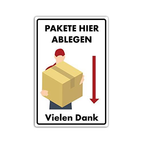 Hier Paket ablegen/abladen Schild 20 x 30 cm Abladestelle Kennzeichnung aus Stabiler PVC Hartschaumplatte 3mm mit UV-Schutz von STROBO